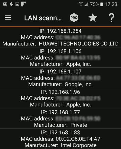 IP Tools is an Android app that scans the Wi-Fi network for devices and lists them
