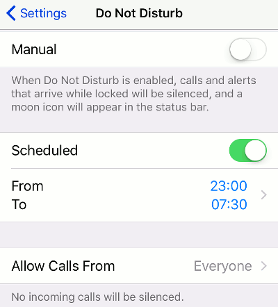 Set Do Not Disturb on the iPhone
