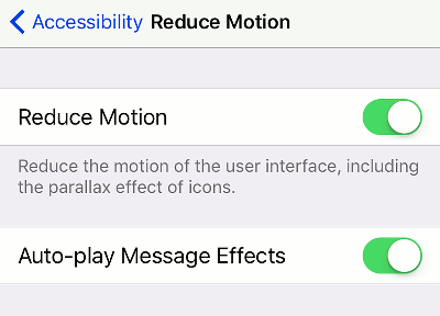 Reduce motion in the iPhone interface