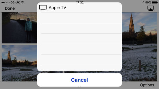 The Apple Photos slideshow feature - select the Apple TV