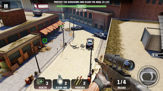 Keep the zombies off the streets in Kill shot Virus for iPhone