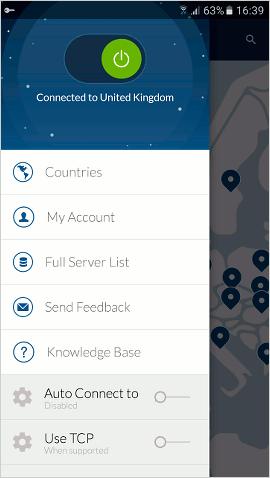 NordVPN on Android secures the internet