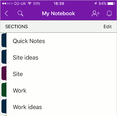 OneNote app on the iPhone