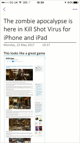 A web page saved to OneNote on the iPhone