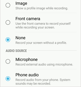 Samsung Game Tools recording settings