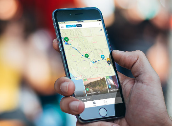 Roadtrippers app for iPhone and Android phones