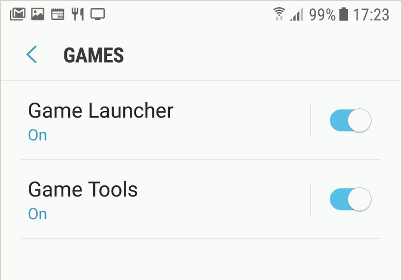 Samsung game settings in Android 7