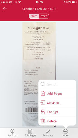 Scanbot app for the iPhone scans documents and saves them as PDF