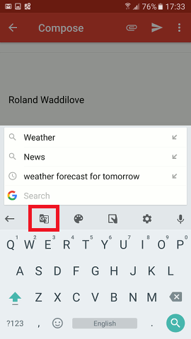 Access Gboard functions on an Android phone