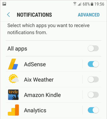 Disable notifications for apps in Android settings