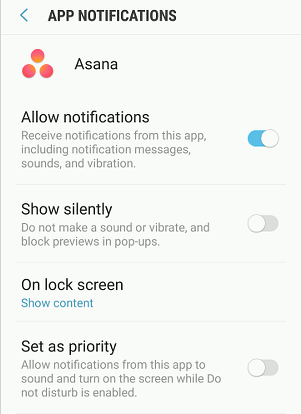 Android app notification settings