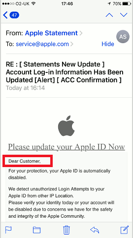 A phishing email pretending to be from Apple