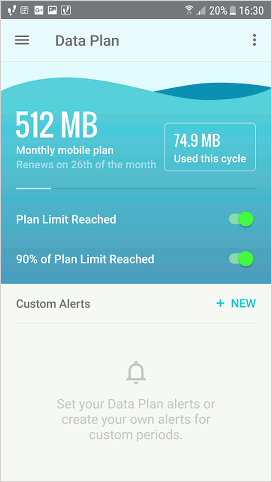 Mobile data usage in GlassWire app for Android