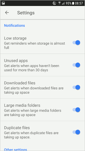 Files Go by Google for Android settings