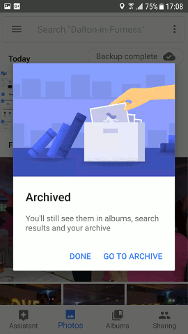 Archive photos using Google Photos for Android