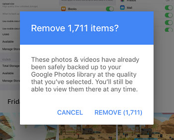 Google Photos on the iPhone - delete uploaded photos