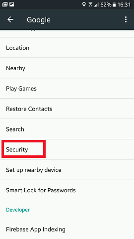 Google security settings on Android
