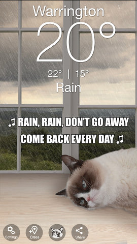 Grumpy Cat weather forecast on Android