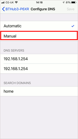 Configure DNS settings on the iPhone