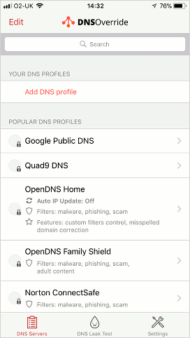 DNS Override app on the iPhone