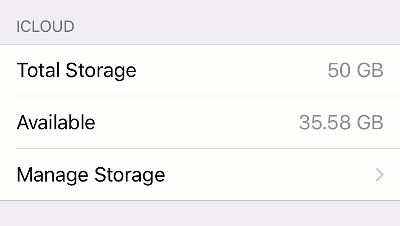 iPhone settings showing iCloud usage