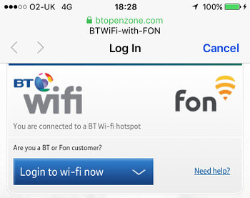 Log in to Wi-Fi hotspot on the iPhone