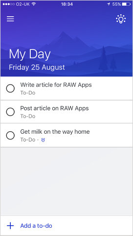 Microsoft To-Do for the iPhone My Day view