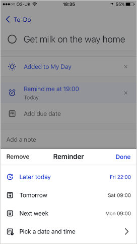 Microsoft To-Do for the iPhone setting a reminder for a to-do