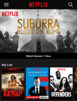 Netflix app on the iPhone