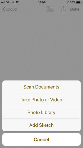 Insert an item into a note using the Notes app on the iPhone