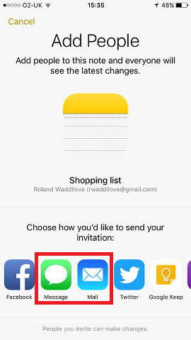 Invite people to share a note using Apple Notes app on iPhone