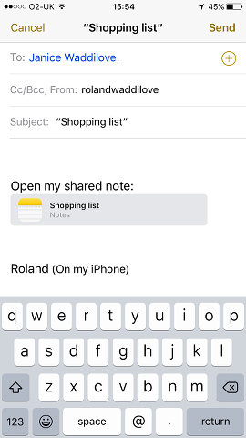 Email an invitation to share a note using the Apple Notes app on iPhone