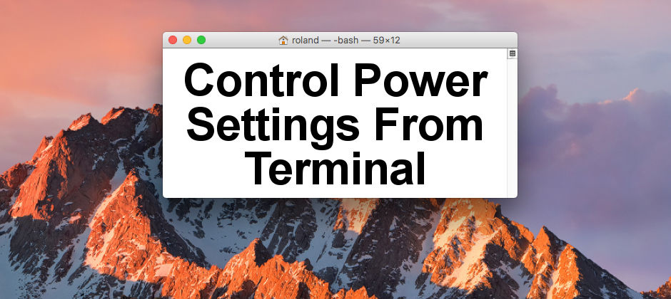 How to use commands int he Terminal window to control the power settings on the Apple Mac. Use pmset, caffeinate and systemsetup.