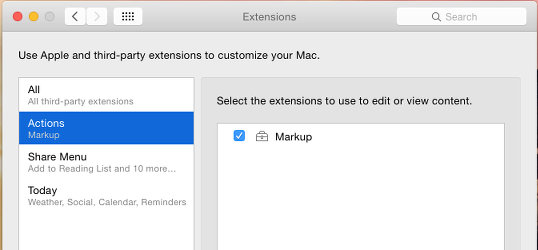 Extensions in System Preferencesd
