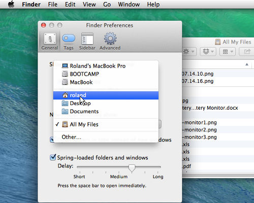 Select the default display in Finder