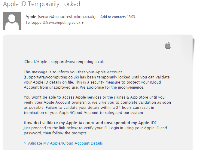 Fake Apple ID email