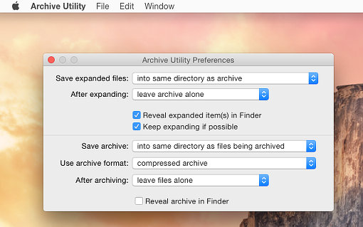 Configure the Archive function in OS X on the Mac | RAW Mac