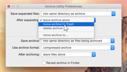 Configure the Archive function in OS X on the Mac   RAW Mac