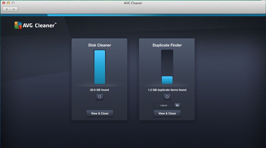 Scanning the disk with AVG Cleaner for Mac