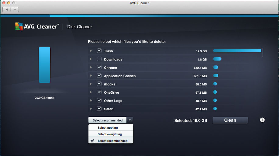 Viewing disk junk with AVG Cleaner for Mac