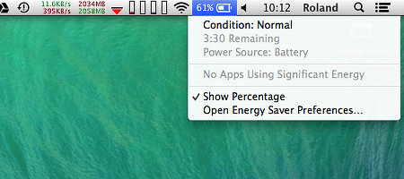 OS X battery status