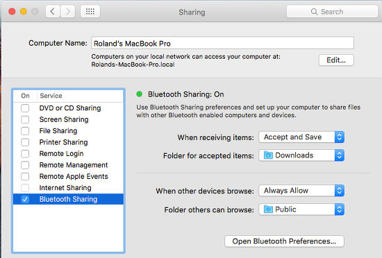 Bluetooth file sharing OS X