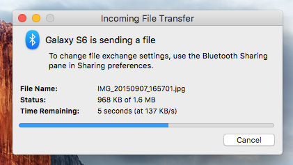 Receive files via Bluetooth on the Mac