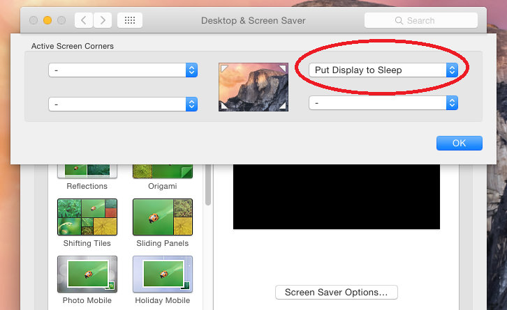 Desktop and Screen Saver settings in OS X Yosemite