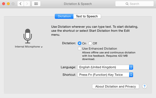 Dictation and speech recognition in OS X