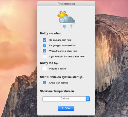 Drizzle weather forecast for Apple Mac