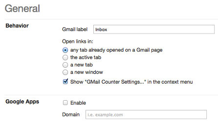 GMail Counter general settings
