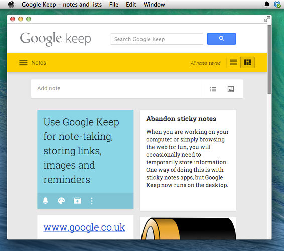 Google Keep multicolumn display