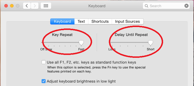 Yosemite Keyboard options