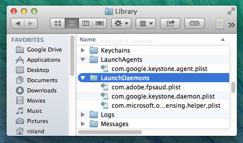 LaunchDaemons folder in OS X on the Apple Mac
